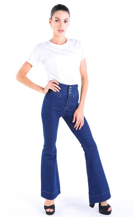 Petite jeans high waist und Flare